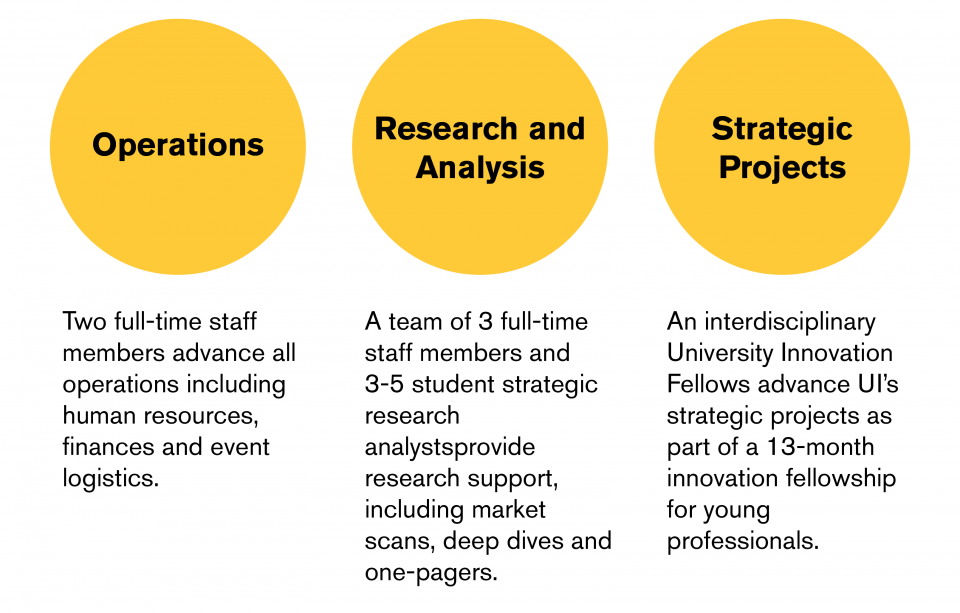 Operations - One full-time staff and a student advance all operations including human resources, finances and event logistics. Research and Analysis - A team of 2 full-time staff and 4 student strategic research analysts provide research support including market scans and background information. Strategic Projects - A team of University Innovation Fellows advances UI's strategic projects as part of a 13 month innovation fellowship for young professionals.